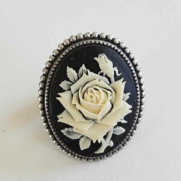 c2b456f041e GASOLINE GLAMOUR Jewelry   Black White Rose Cameo Ring   Poshmark